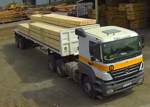 Truck with timber at Tekwani sawmill